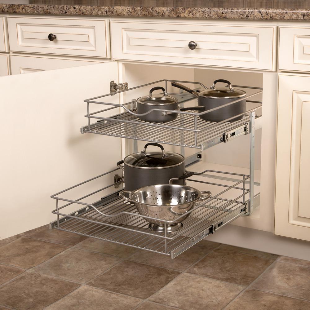 20.625 in. W x 21.75 in. D x 16.25 in. H Double Tier Pull-Out Multi-Use Basket Cabinet Organizer