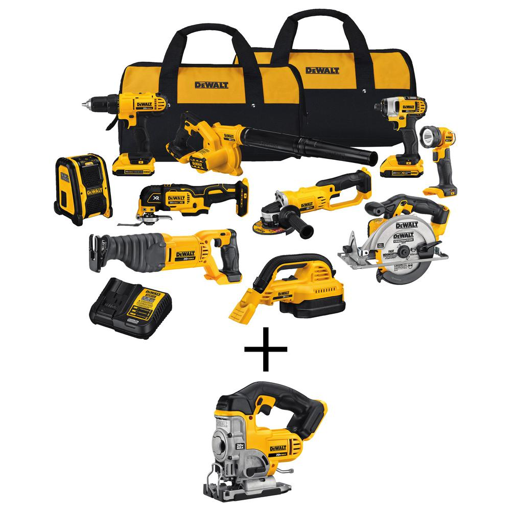 DEWALT 20-Volt Max Lithium-Ion Cordless Combo Kit (10-Tool) with Bonus Cordless Jig Saw (Tool-Only)