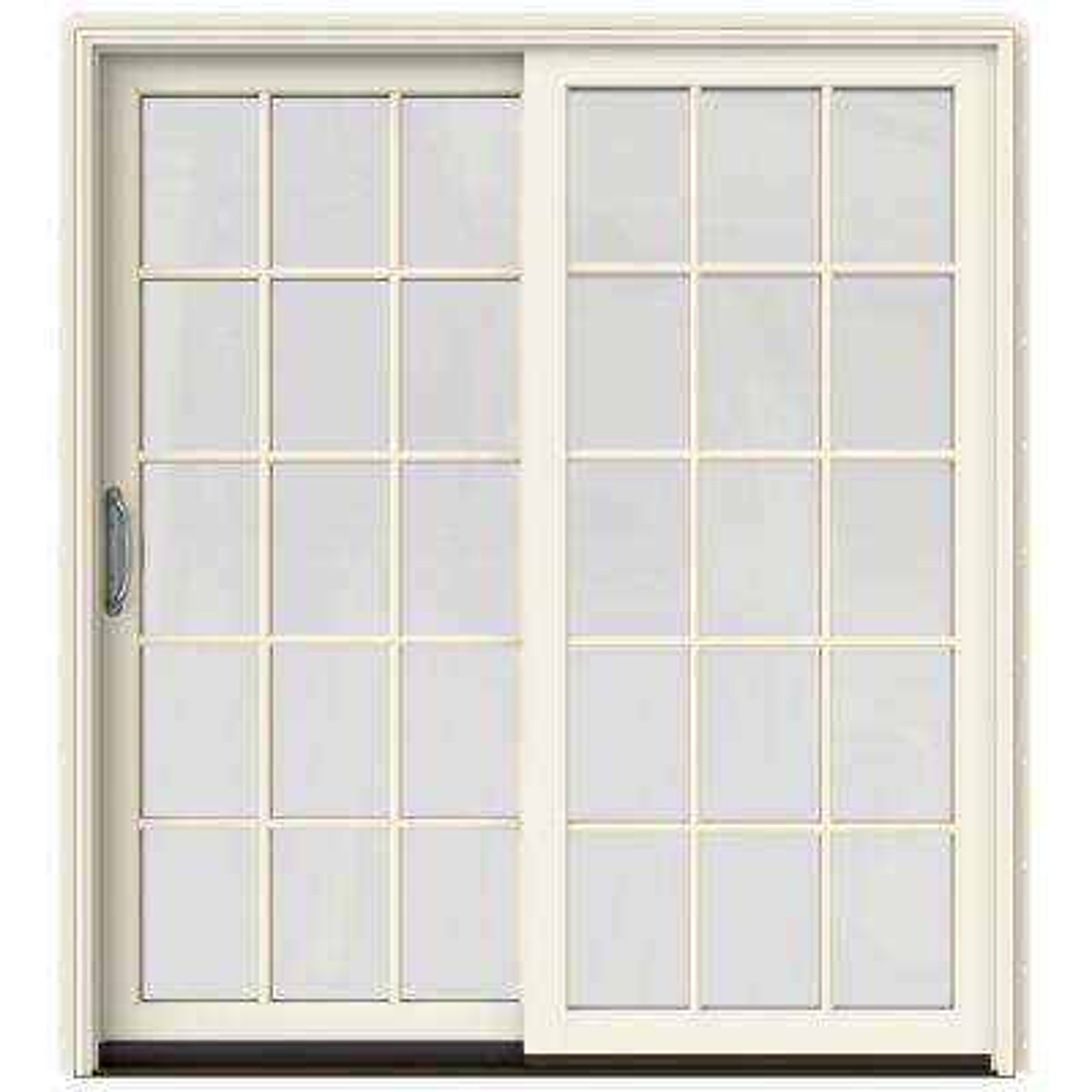 72 in. x 80 in. W-2500 Contemporary Vanilla Clad Wood Left-Hand 15 Lite Sliding Patio Door w/White Paint Interior