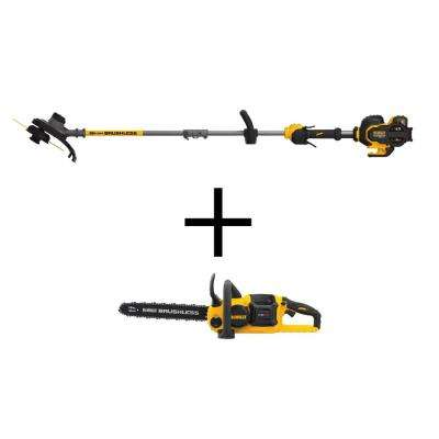 FLEXVOLT 60-Volt MAX Lithium-Ion Cordless Brushless 15 in. String Grass Trimmer w/ (1) Battery, Bonus FLEXVOLT Chainsaw