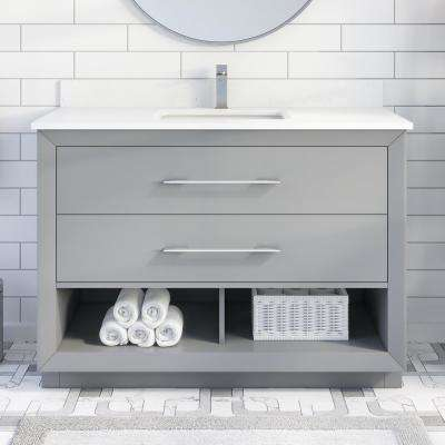 Rio II 48 in. W x 22 in. D Bath Vanity in Gray NERD Stone Vanity Top in White with White Basin with Power Bar-Organizer