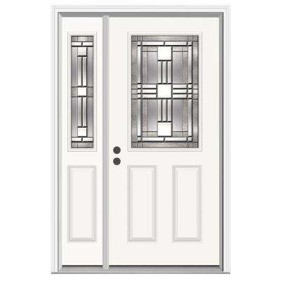 50 in. x 80 in. 1/2 Lite Cordova Primed Steel Prehung Right-Hand Inswing Front Door with Left-Hand Sidelites