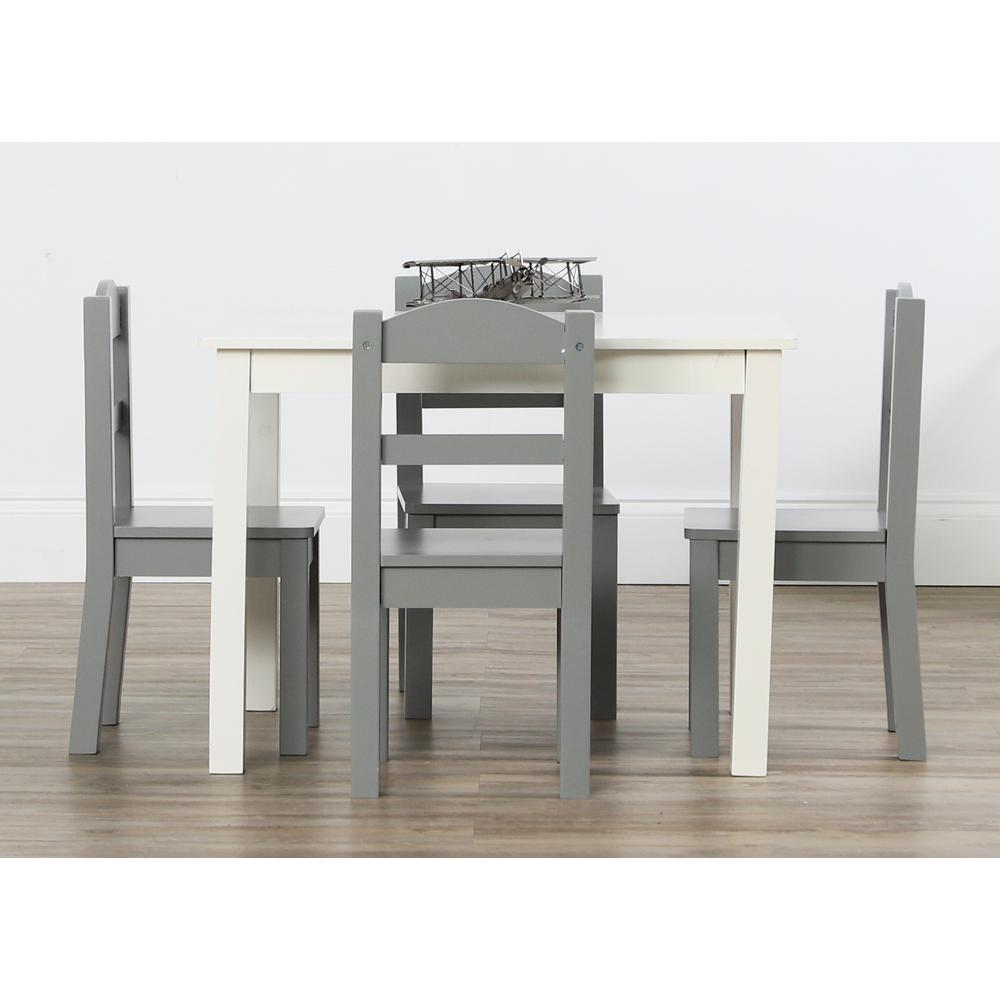 Tot Tutors Springfield 5 Piece White/Grey Kids Table And Chair Set