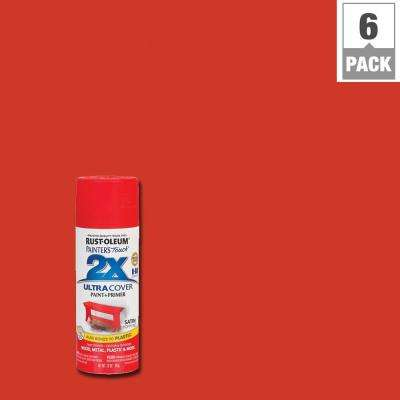 12 oz. Poppy Red Satin General Purpose Spray Paint (6-Pack)