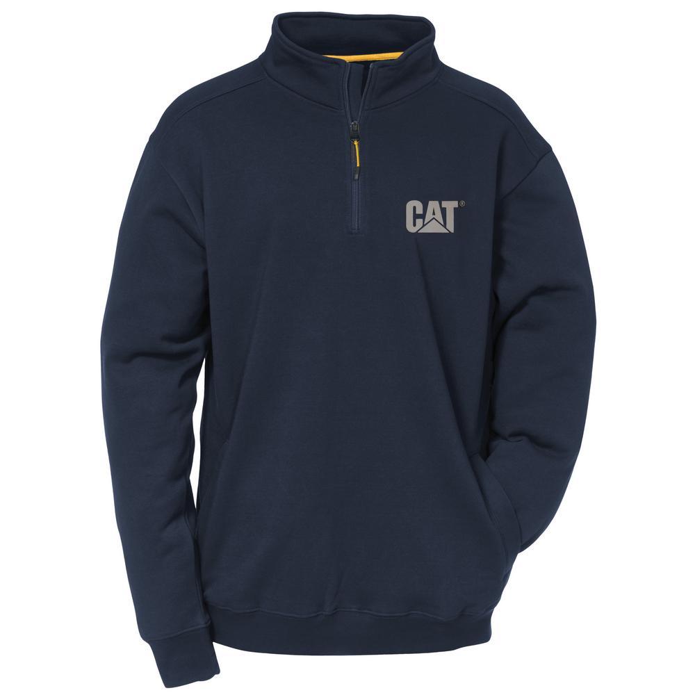 Canyon Men's Size Large Navy Cotton/Polyester 1/4 Zip Sweatshirt