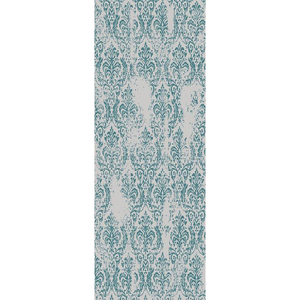 MAXY HOME Zahra Collection Blue 2 ft. x 15 ft. Runner Rug