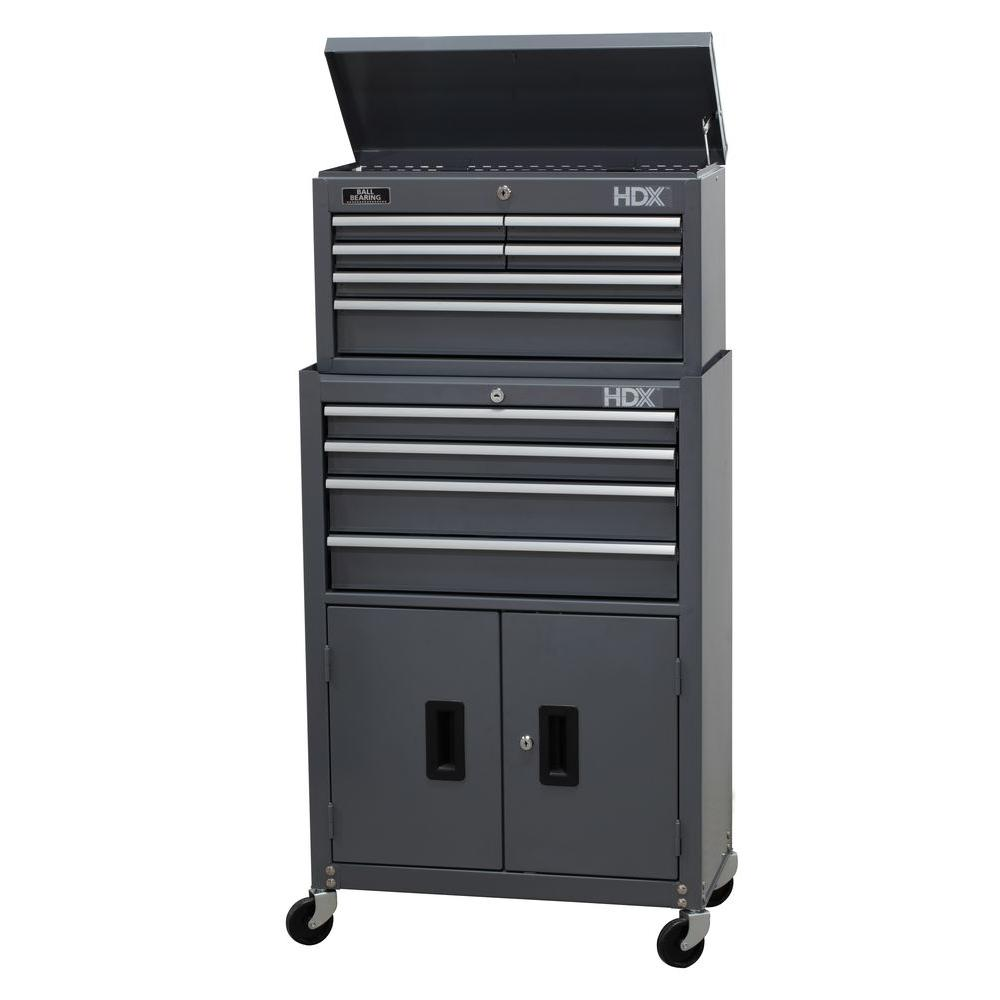 HDX 24 in. 10-Drawer Tool Chest and Rolling Tool Cabinet Set, Grey
