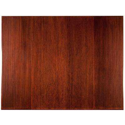 Plush Dark Brown Mahogany 47 in. x 60 in. Bamboo Tri-Fold Office Chair Mat without Lip