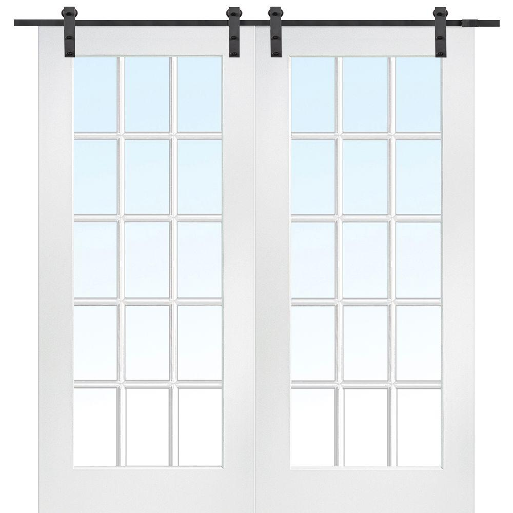 Primed Composite Clear Gl 15 Lite Double Barn Door With Matte Black Sliding Hardware Kit