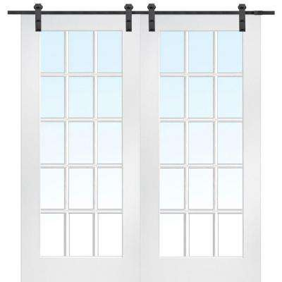 72 in. x 80 in. Primed Composite Clear Glass 15-Lite Double Sliding Barn Door with Matte Black Hardware Kit