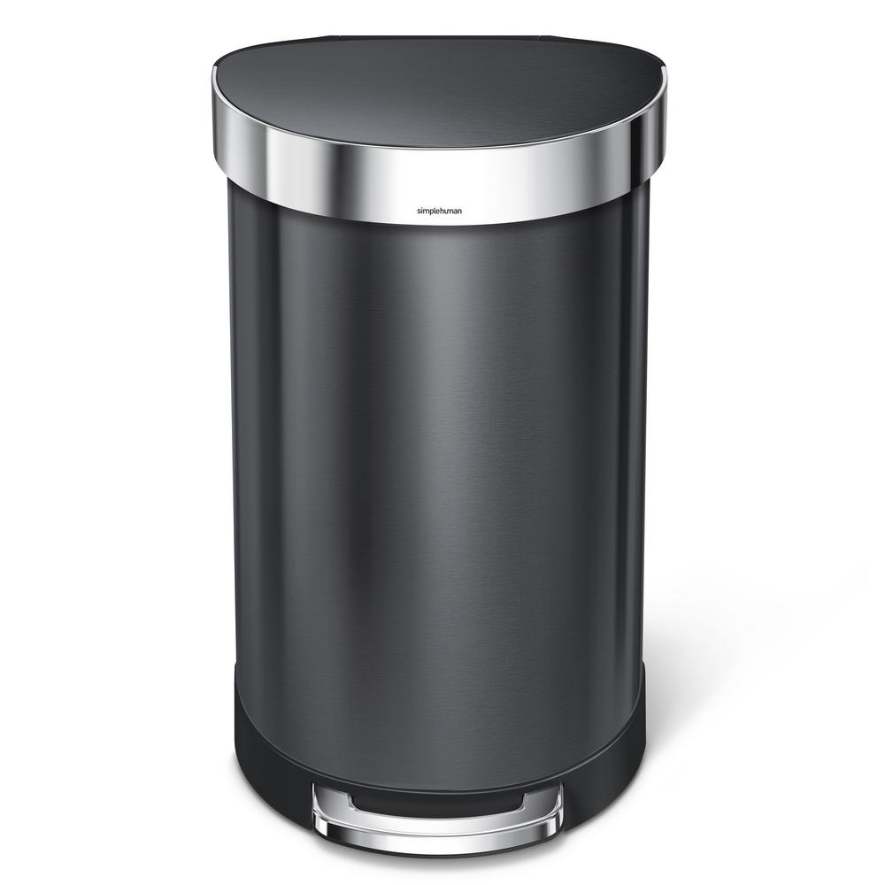 Stainless Steel Semi Round Liner Rim Step Trash Can