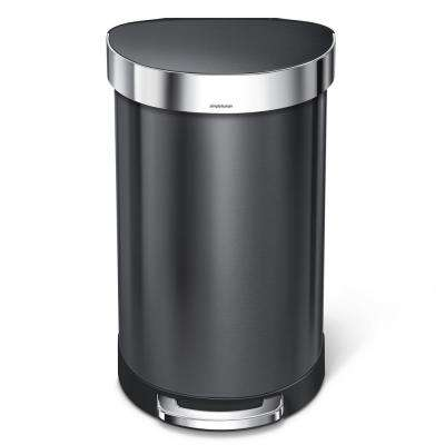12 Gal. Stainless Steel Semi-Round Liner Rim Step Trash Can