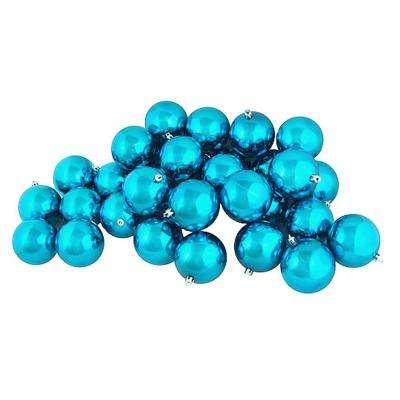 Shiny Turquoise Blue Shatterproof Christmas Ball Ornaments (32-Count)
