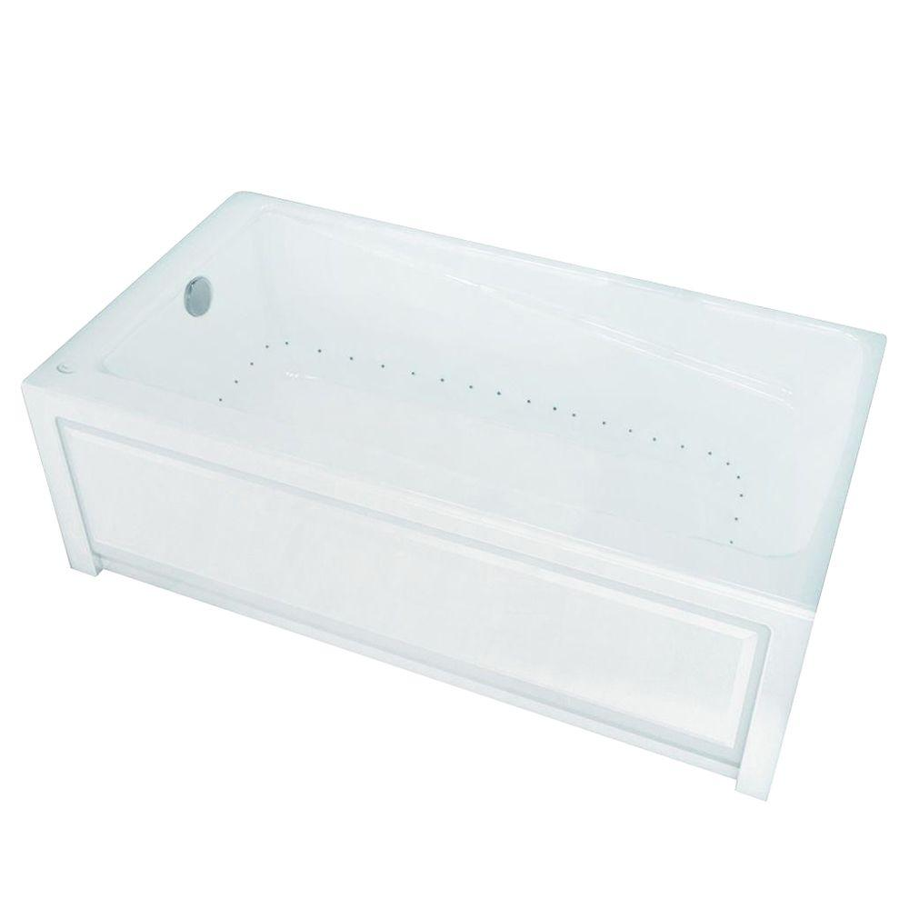 New Town 60 in. Acrylic Left Drain Rectangular Alcove Air Bath