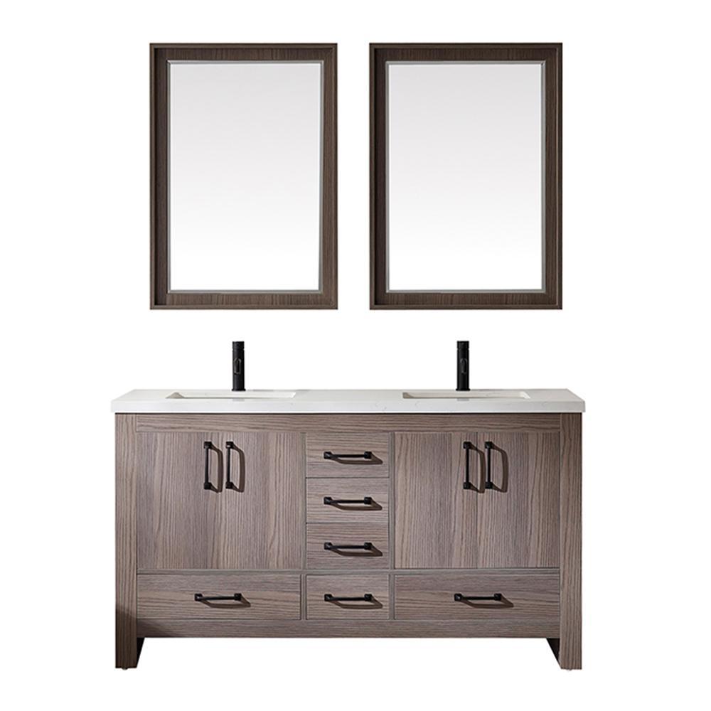 Forli 60 in. W x 22 in. D Bath Vanity in Dark Grey with Quartz Vanity Top in White with White Basin and Mirror