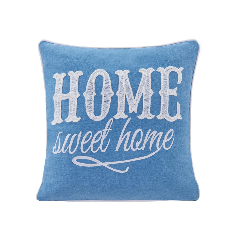 DanyaB DANYA B Home Sweet Home Blue Solid Polyester 17 in. x 17 in. Throw Pillow