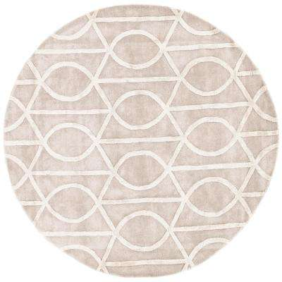 Hand-Tufted Drizzle/Star White 8 ft. x 8 ft. Round Area Rug