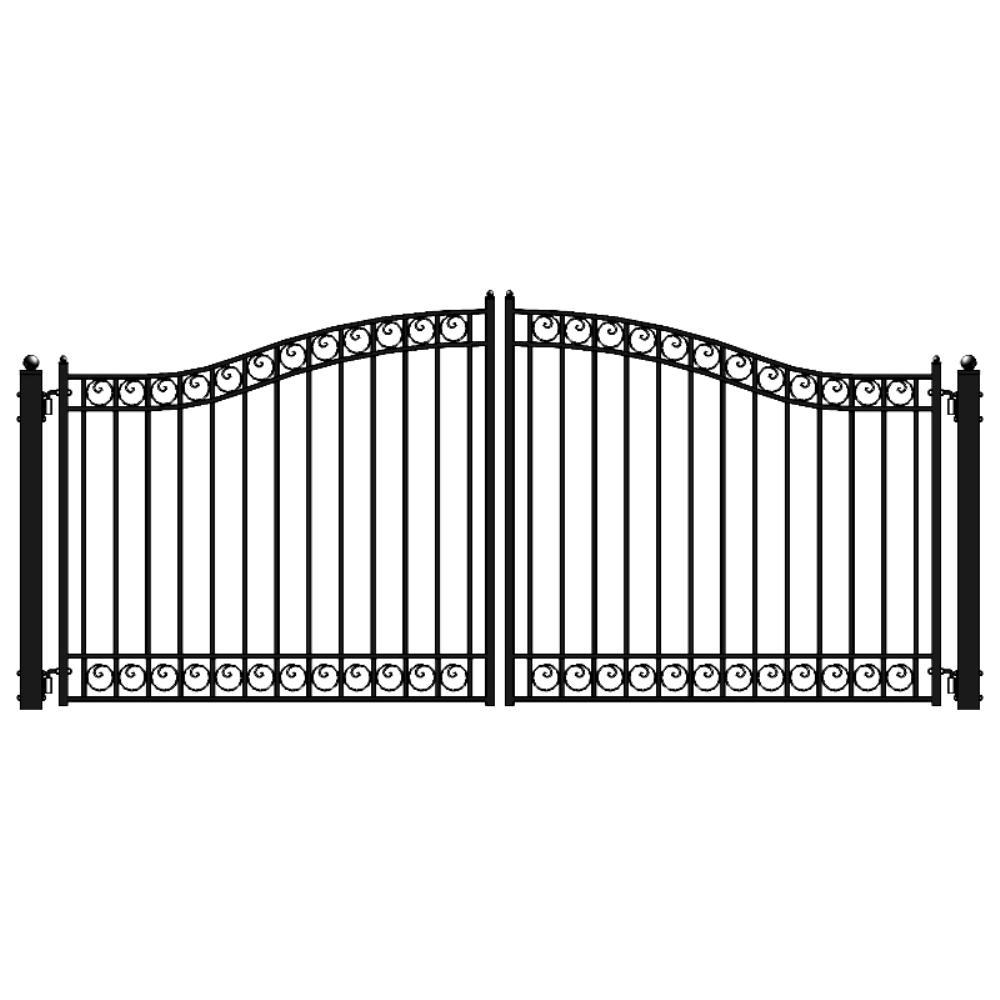 Dublin 16 ft. x 6 ft. Black Steel Dual Driveway Fence Gate
