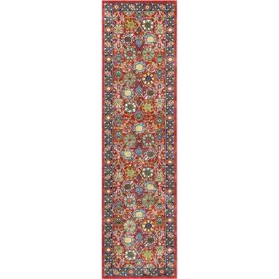 Tulsa Merve Traditional Oriental Distressed Crimson/ Red 2 ft. 7 in. x 9 ft. 10 in. Runner Rug
