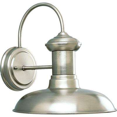Brookside Collection 1-Light Outdoor 10 Inch Antique Nickel Wall Lantern