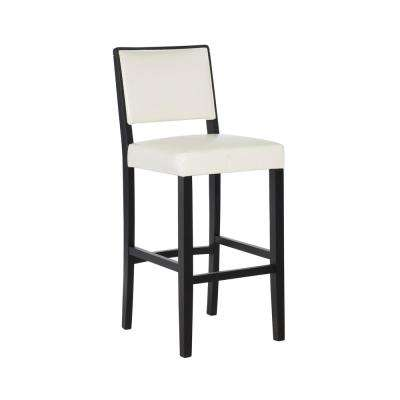 Zoe 30 in. White Upholstered with Black Finish Bar Stool