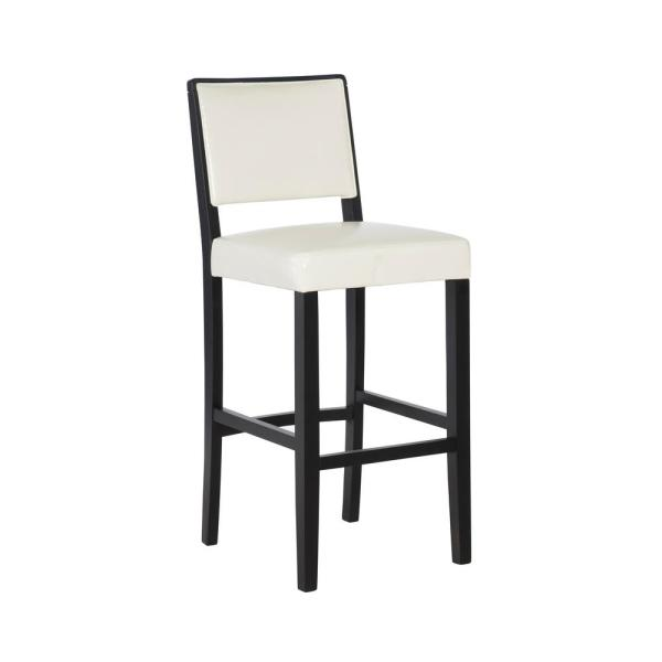 Linon Home Decor Zoe 30 in. White Upholstered with Black Finish