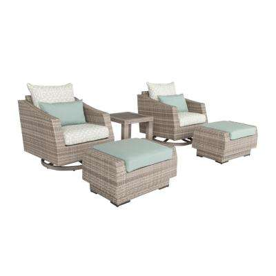 Cannes 5-Piece All-Weather Wicker Patio Motion Club Chair and Ottoman Conversation Set with Spa Blue Cushions