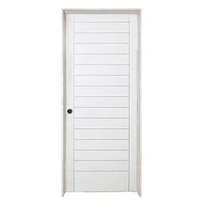 36 in. x 80 in. Stacked Primed White Barn Door Style Solid Core Wood Single Prehung Interior Door