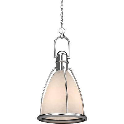 1-Light Indoor Brushed Nickel Lantern Hanging Pendant with Caged White Glass Shade