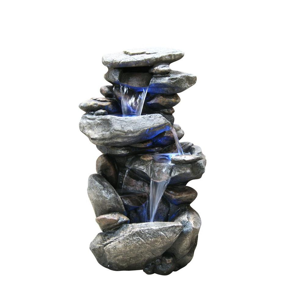 Alpine rock waterfall fountain with led light win316 the for Garden waterfall fountain