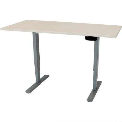 59 in. x 27 in. Height-Adjustable Sit to Stand Up Workstation Programmable Memory Whitewash Electric Standing Desk