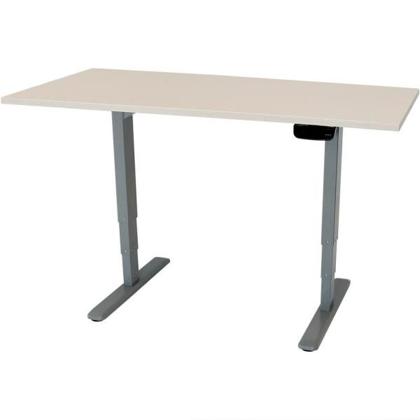 CASL Brands 59 in. x 27 in. Height-Adjustable Sit to Stand Up Workstation Programmable Memory Whitewash Electric Standing Desk