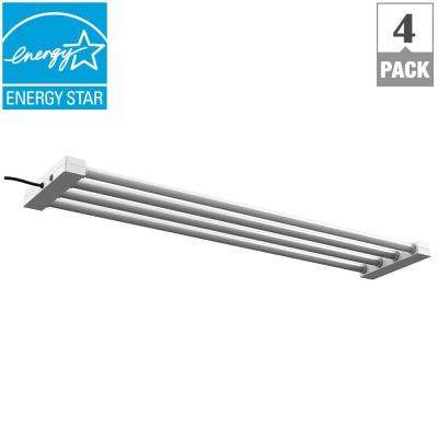 4 ft. 4-Light 76-Watt White Integrated LED Utility Shop Light Fixture (4-Pack)
