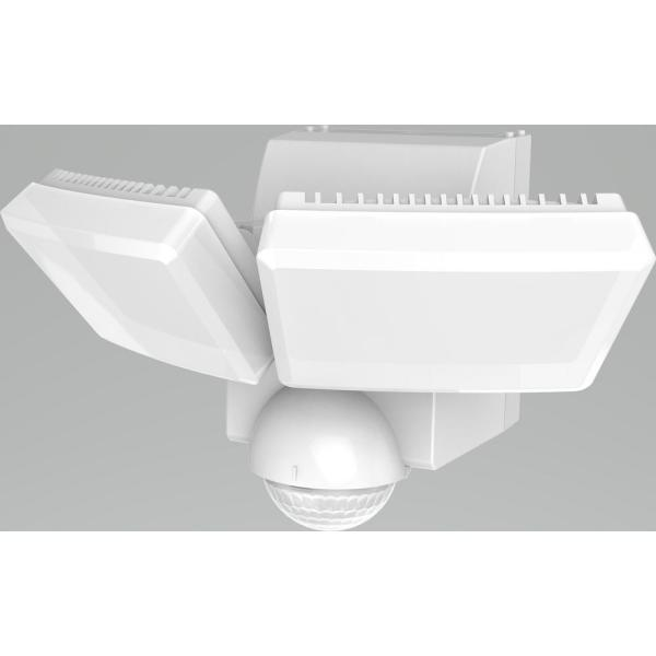 180-Degree White Twin Battery Motion Sensor Outdoor Integrated LED Flood Lights with 800 Lumens