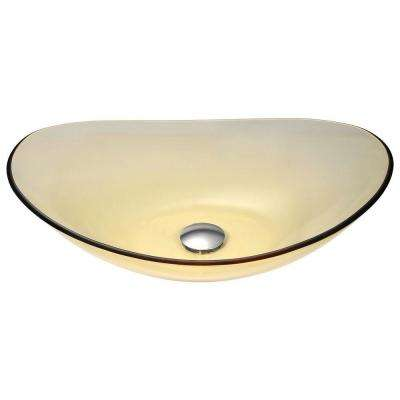 Mesto Series Deco-Glass Vessel Sink in Lustrous Translucent Gold