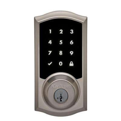 Premis Touchscreen Smart Lock Single Cylinder Satin Nickel Electronic Deadbolt Featuring SmartKey