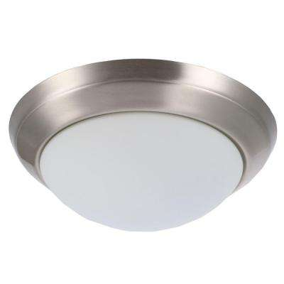 14 in. 2-Light Brushed Nickel Flushmount with Round White Glass Shade