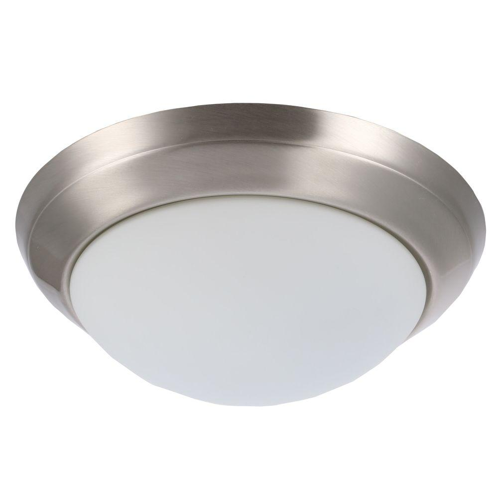 Hampton Bay 14 in. 2-Light Brushed Nickel Flushmount with Round White Glass Shade