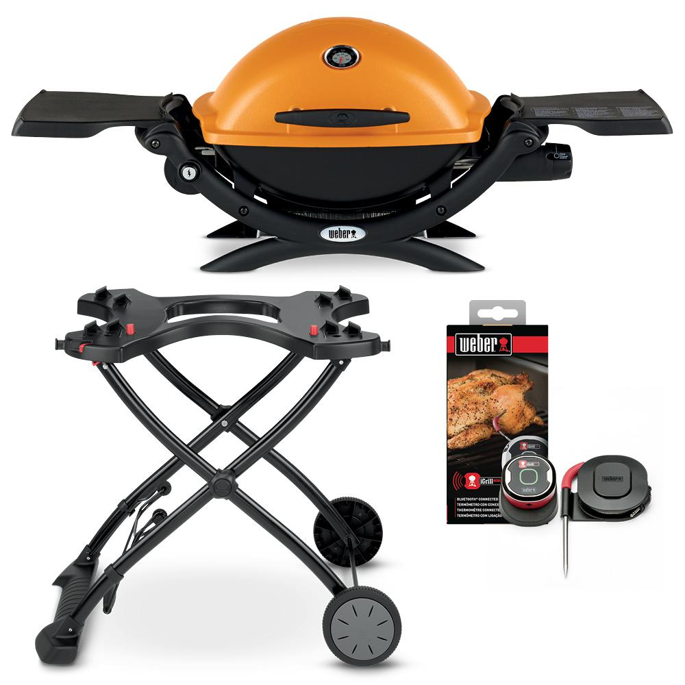 Weber Q 1200 1 Burner Portable Propane Gas Grill Combo In Orange With Rolling Cart And Igrill Mini 18112 The Home Depot