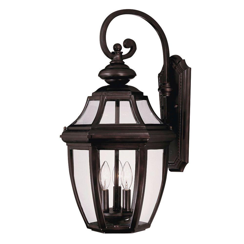 Illumine 3-Light Wall Mount Lantern English Bronze Finish Clear Glass