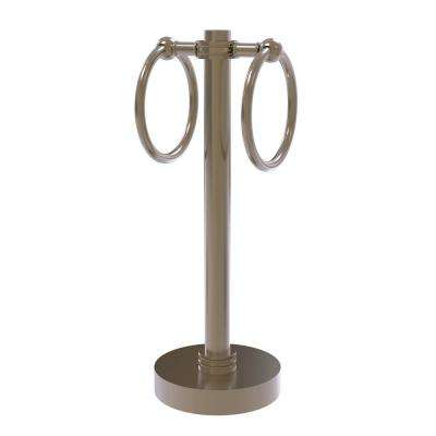 Vanity Top 2 Towel Ring Guest Towel Holder with Dotted Accents in Antique Pewter