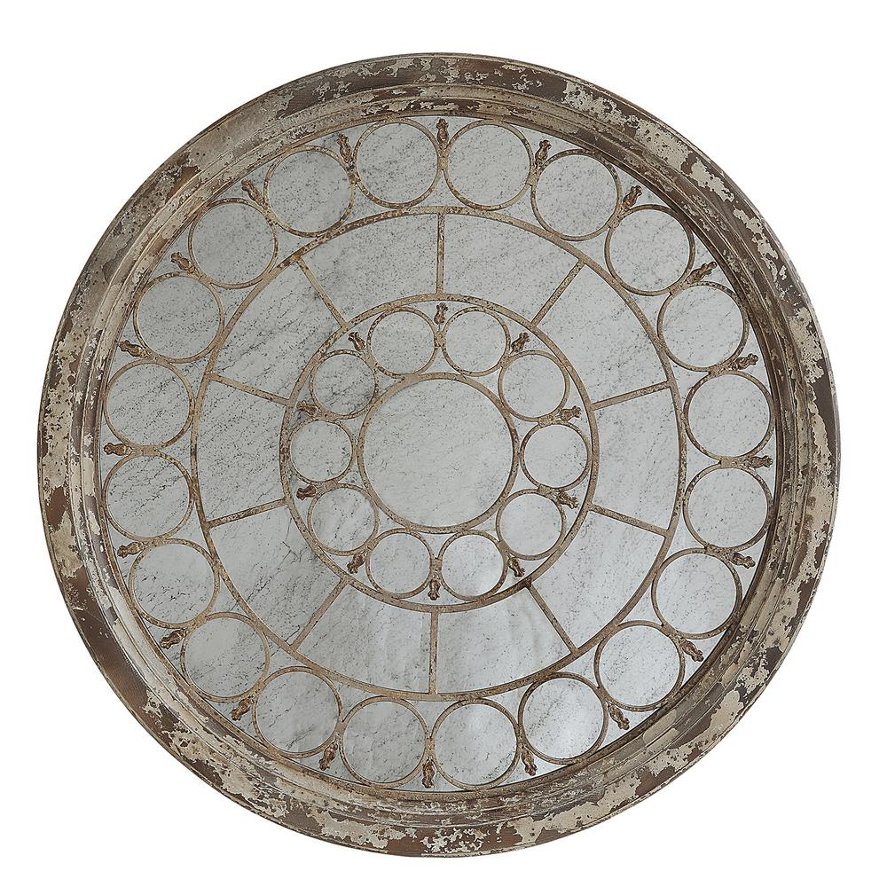 Zephyr Antiqued White Framed Mirror