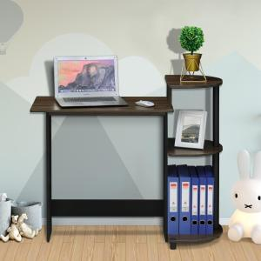 Furinno Compact Columbia Walnut Black Computer Desk With