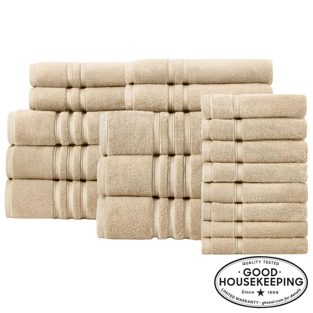 Turkish Cotton Ultra Soft 18-Piece Towel Set in Khaki