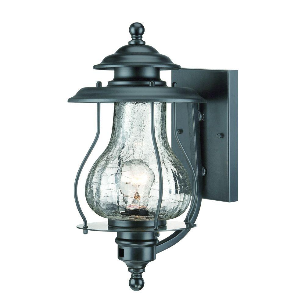Blue Ridge Collection 1-Light Matte Black Outdoor Wall Lantern Sconce