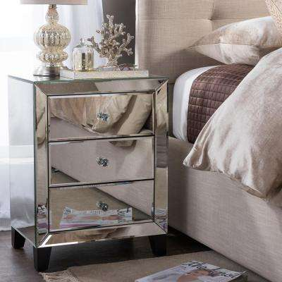 Chevron 3-Drawer Silver Mirrored Nightstand