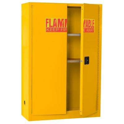 65 in. H x 43 in.W x 18 in. D Steel Freestanding Flammable Liquid Safety Double-Door Cabinet in Yellow