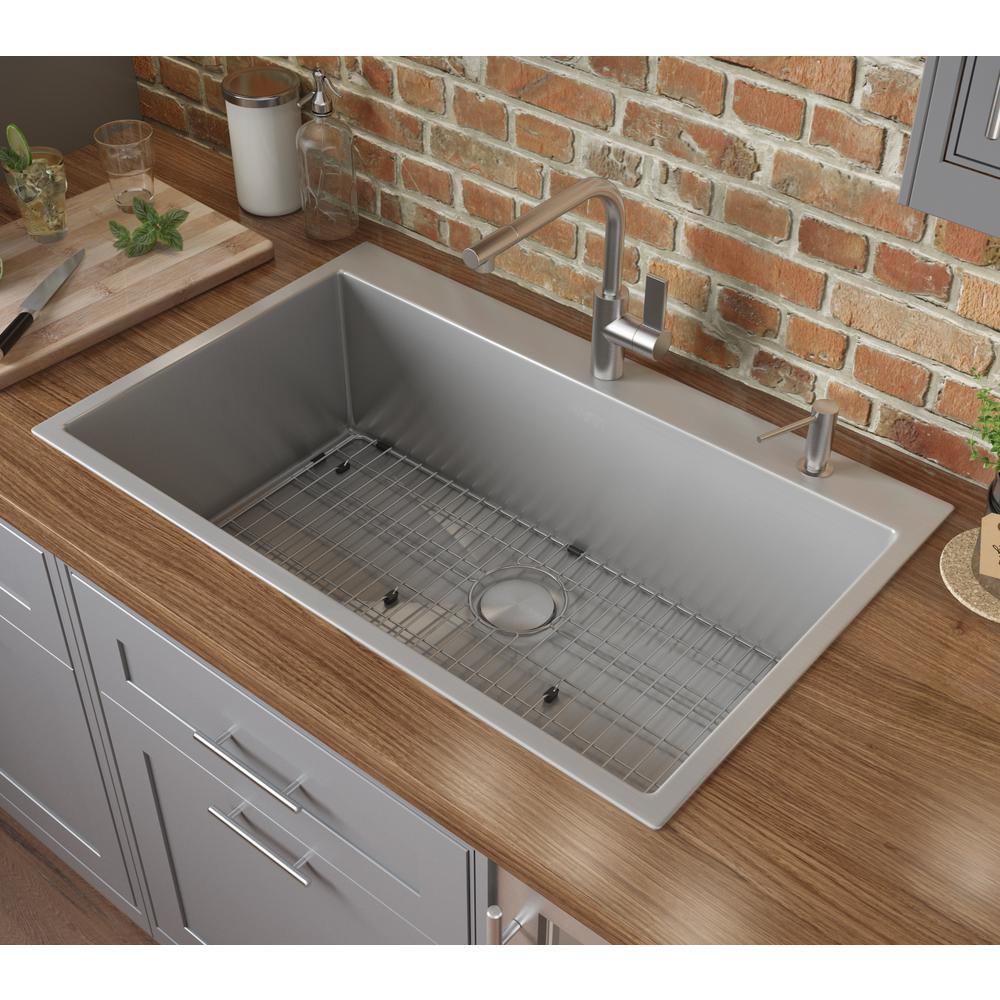 Ruvati Drop In Stainless Steel 33 In Topmount Tight Radius 16 Gauge Kitchen Sink Single Bowl
