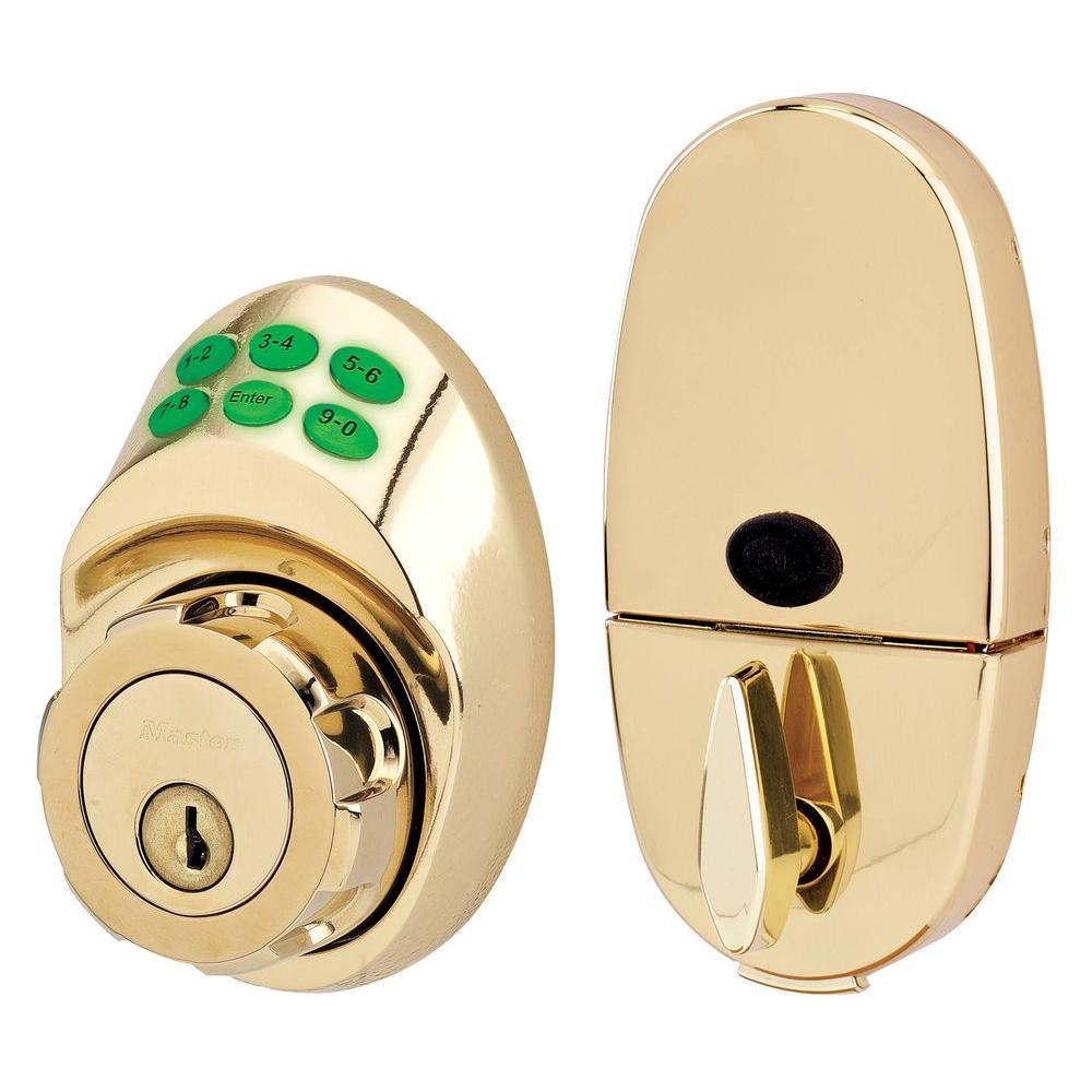 Master Lock Single Cylinder Polished Brass Keypad Deadbolt with Night Watch by Master Lock