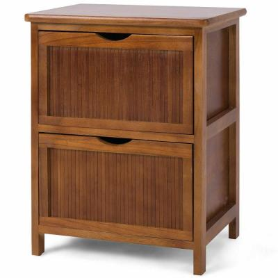 2-Drawer Brown Nightstand Contemporary Vintage BedSide Table Solid Wood End Table